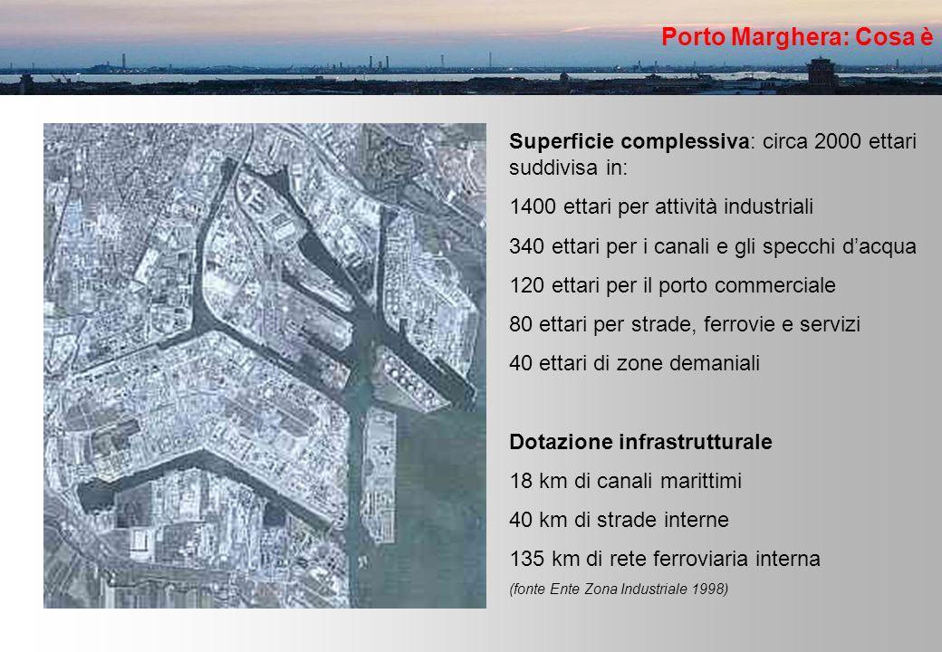 Porto Marghera: Cosa è Superficie complessiva: circa 2000 ettari suddivisa in: 1400 ettari per attività industriali 340 ettari per i canali e gli specchi dacqua 120 ettari per il porto commerciale 80 ettari per strade, ferrovie e servizi 40 ettari di zone demaniali Dotazione infrastrutturale 18 km di canali marittimi 40 km di strade interne 135 km di rete ferroviaria interna (fonte Ente Zona Industriale 1998)