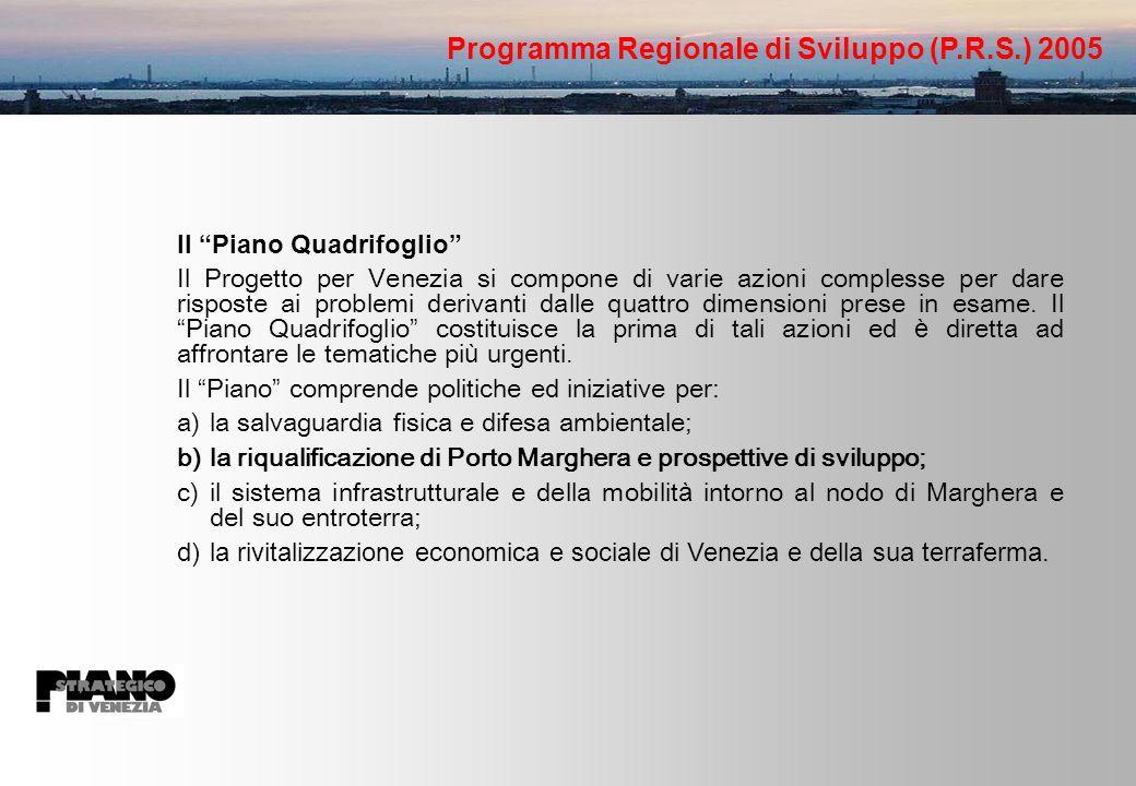 Il Piano Quadrifoglio Il Progetto per Venezia si compone di varie azioni complesse per dare risposte ai problemi derivanti dalle quattro dimensioni prese in esame.