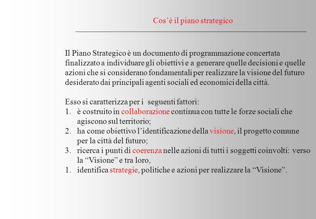 Cosè il piano strategico Il Piano Strategico è un documento di programmazione concertata finalizzato a individuare gli obiettivi e a generare quelle decisioni e quelle azioni che si considerano fondamentali per realizzare la visione del futuro desiderato dai principali agenti sociali ed economici della città.