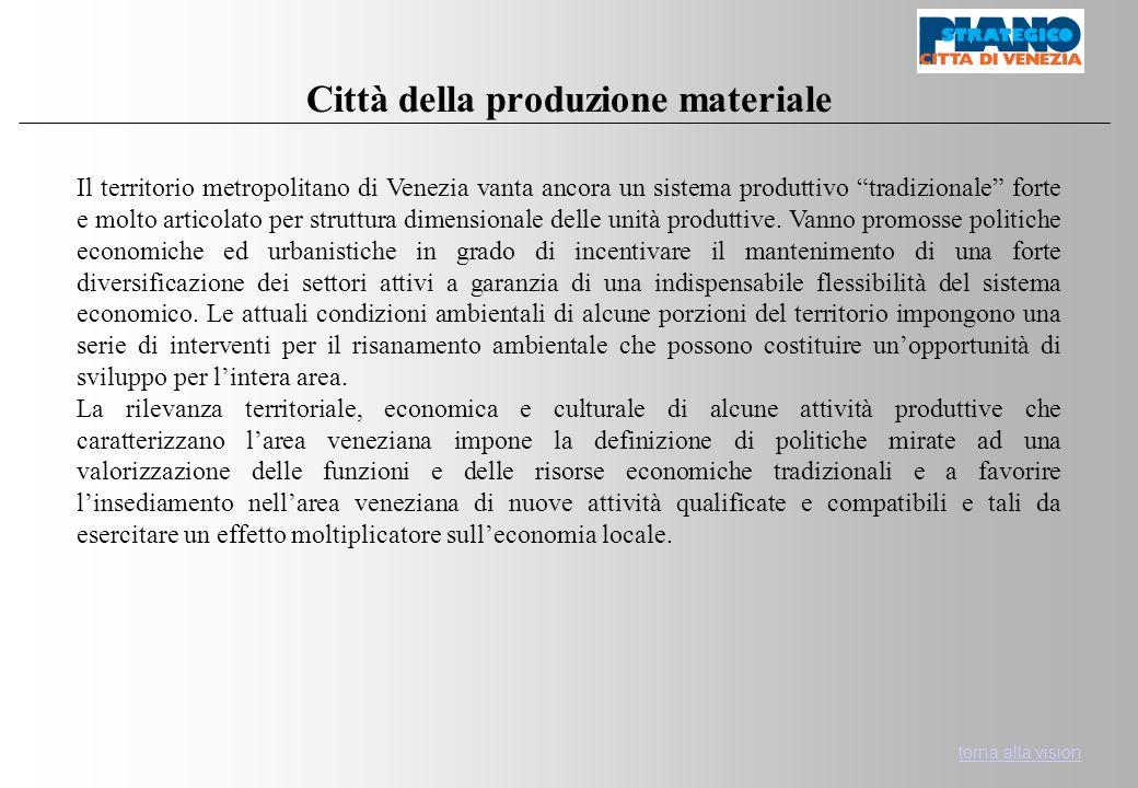 Città della produzione materiale Il territorio metropolitano di Venezia vanta ancora un sistema produttivo tradizionale forte e molto articolato per struttura dimensionale delle unità produttive.