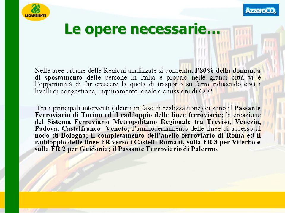 Le opere necessarie… Nelle aree urbane delle Regioni analizzate si concentra l80% della domanda di spostamento delle persone in Italia e proprio nelle