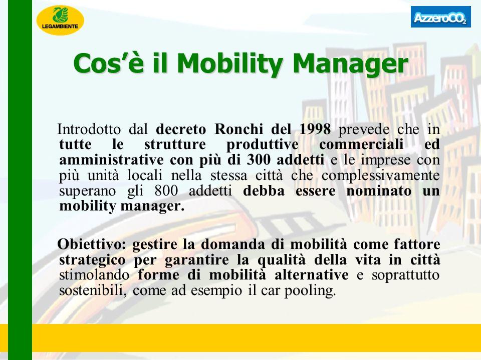 Cosè il Mobility Manager Introdotto dal decreto Ronchi del 1998 prevede che in tutte le strutture produttive commerciali ed amministrative con più di