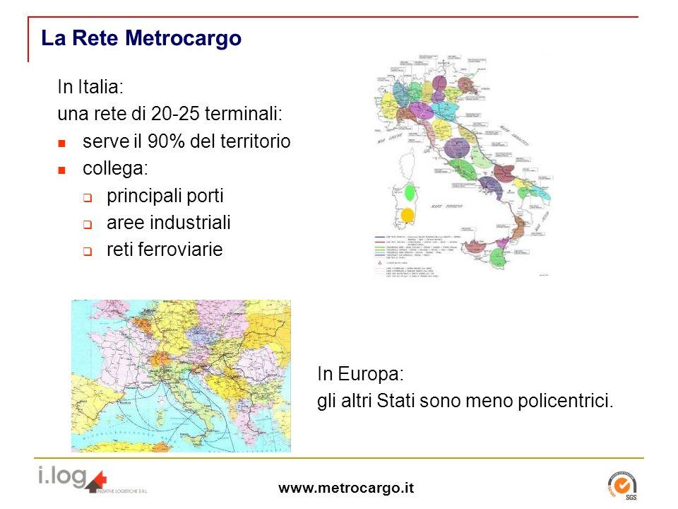 www.metrocargo.it La Rete Metrocargo In Italia: una rete di 20-25 terminali: serve il 90% del territorio collega: principali porti aree industriali reti ferroviarie In Europa: gli altri Stati sono meno policentrici.