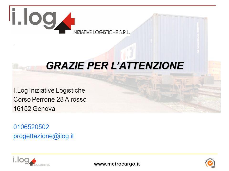 www.metrocargo.it I.Log Iniziative Logistiche Corso Perrone 28 A rosso 16152 Genova 0106520502 progettazione@ilog.it GRAZIE PER LATTENZIONE