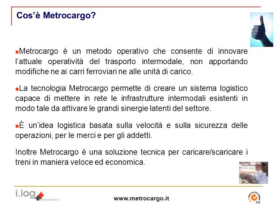 Metrocargo è un metodo operativo che consente di innovare lattuale operatività del trasporto intermodale, non apportando modifiche ne ai carri ferroviari ne alle unità di carico.