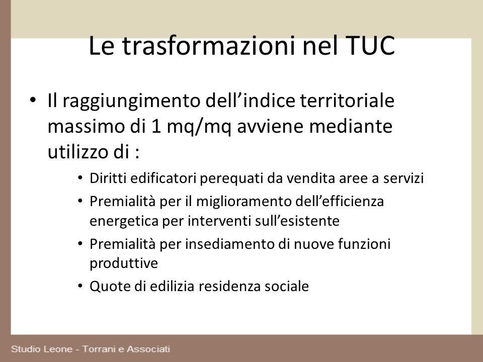 Le trasformazioni nel TUC Il raggiungimento dellindice territoriale massimo di 1 mq/mq avviene mediante utilizzo di : Diritti edificatori perequati da