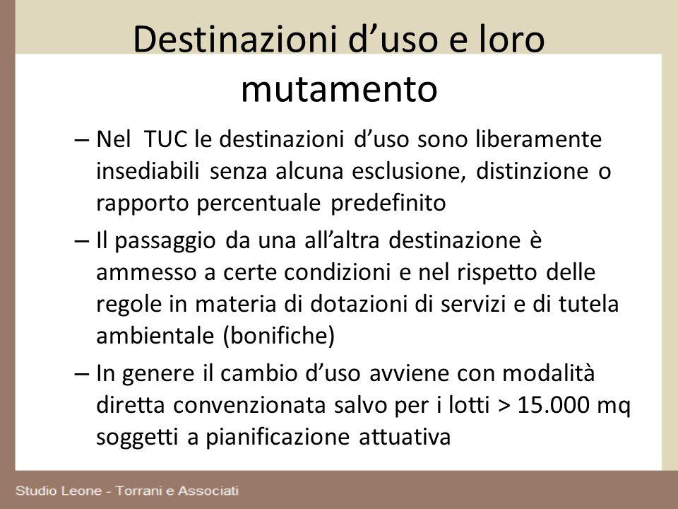 Destinazioni duso e loro mutamento – Nel TUC le destinazioni duso sono liberamente insediabili senza alcuna esclusione, distinzione o rapporto percent