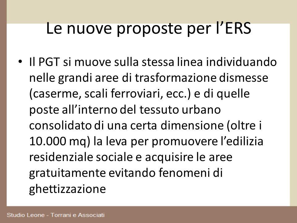 Le nuove proposte per lERS Il PGT si muove sulla stessa linea individuando nelle grandi aree di trasformazione dismesse (caserme, scali ferroviari, ec
