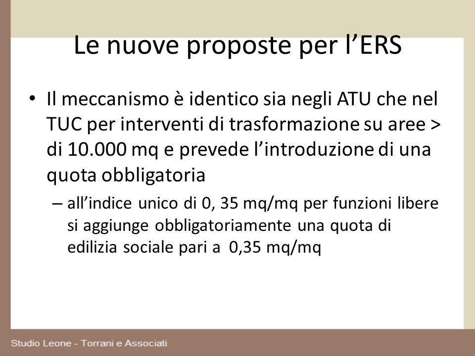 Le nuove proposte per lERS Il meccanismo è identico sia negli ATU che nel TUC per interventi di trasformazione su aree > di 10.000 mq e prevede lintro
