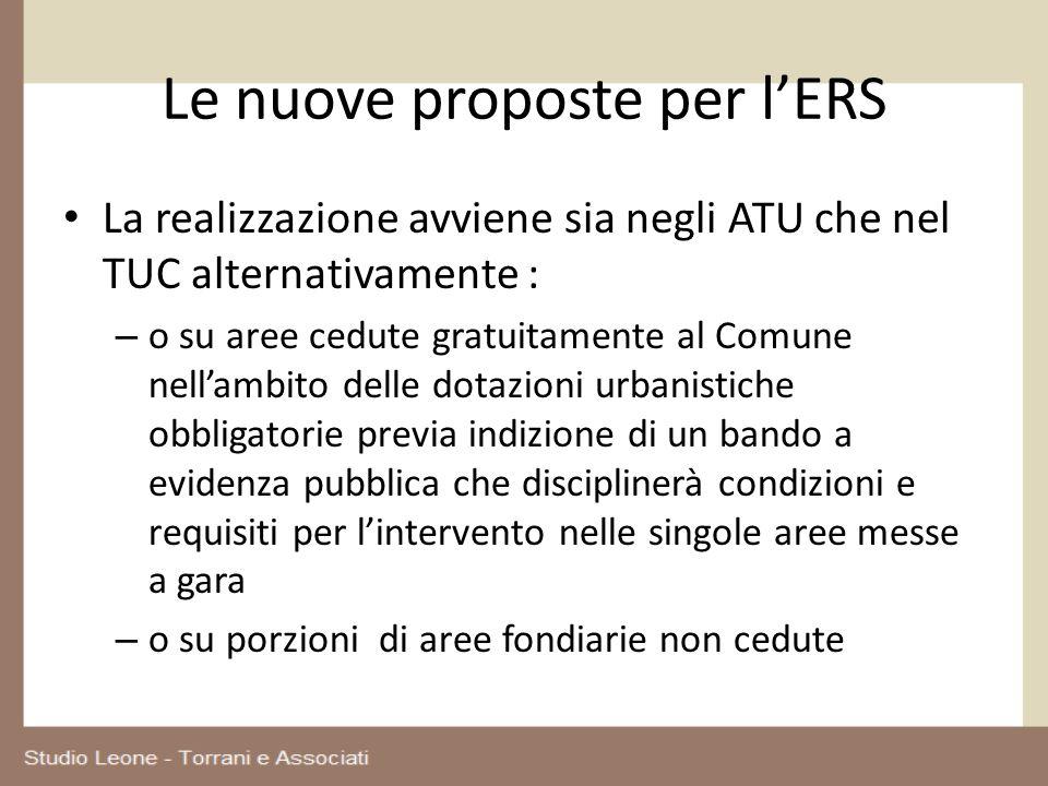 Le nuove proposte per lERS La realizzazione avviene sia negli ATU che nel TUC alternativamente : – o su aree cedute gratuitamente al Comune nellambito