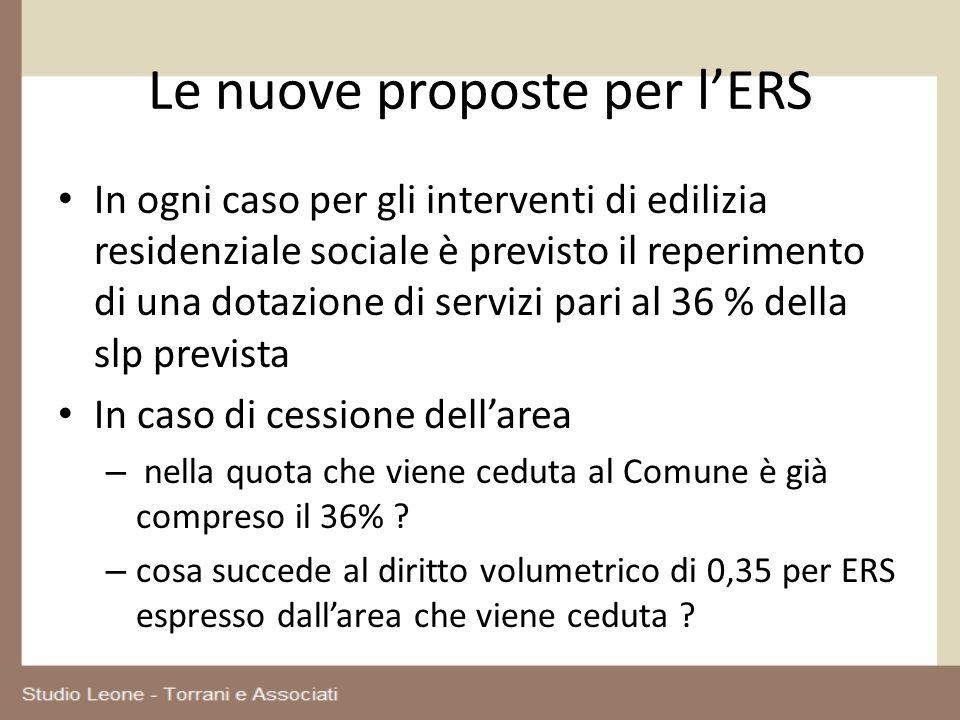 Le nuove proposte per lERS In ogni caso per gli interventi di edilizia residenziale sociale è previsto il reperimento di una dotazione di servizi pari
