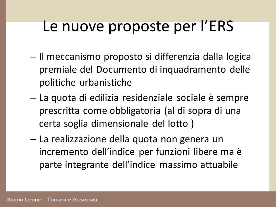 Le nuove proposte per lERS – Il meccanismo proposto si differenzia dalla logica premiale del Documento di inquadramento delle politiche urbanistiche –