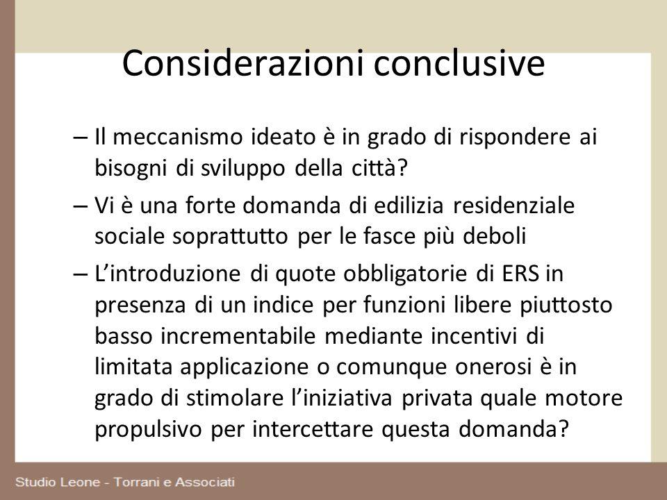 Considerazioni conclusive – Il meccanismo ideato è in grado di rispondere ai bisogni di sviluppo della città? – Vi è una forte domanda di edilizia res