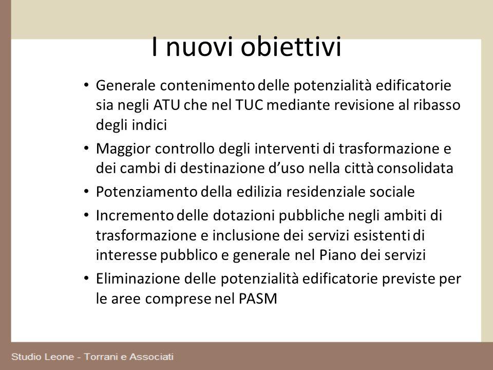 I nuovi obiettivi Generale contenimento delle potenzialità edificatorie sia negli ATU che nel TUC mediante revisione al ribasso degli indici Maggior c