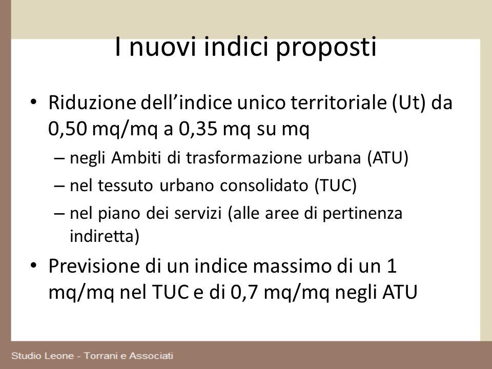I nuovi indici proposti Riduzione dellindice unico territoriale (Ut) da 0,50 mq/mq a 0,35 mq su mq – negli Ambiti di trasformazione urbana (ATU) – nel