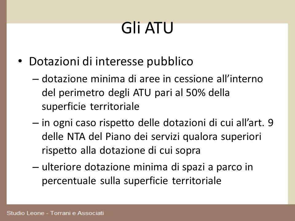 Gli ATU Dotazioni di interesse pubblico – dotazione minima di aree in cessione allinterno del perimetro degli ATU pari al 50% della superficie territo