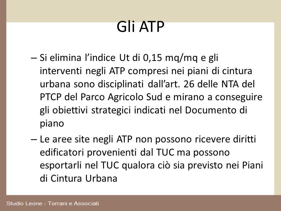 Gli ATP – Si elimina lindice Ut di 0,15 mq/mq e gli interventi negli ATP compresi nei piani di cintura urbana sono disciplinati dallart. 26 delle NTA
