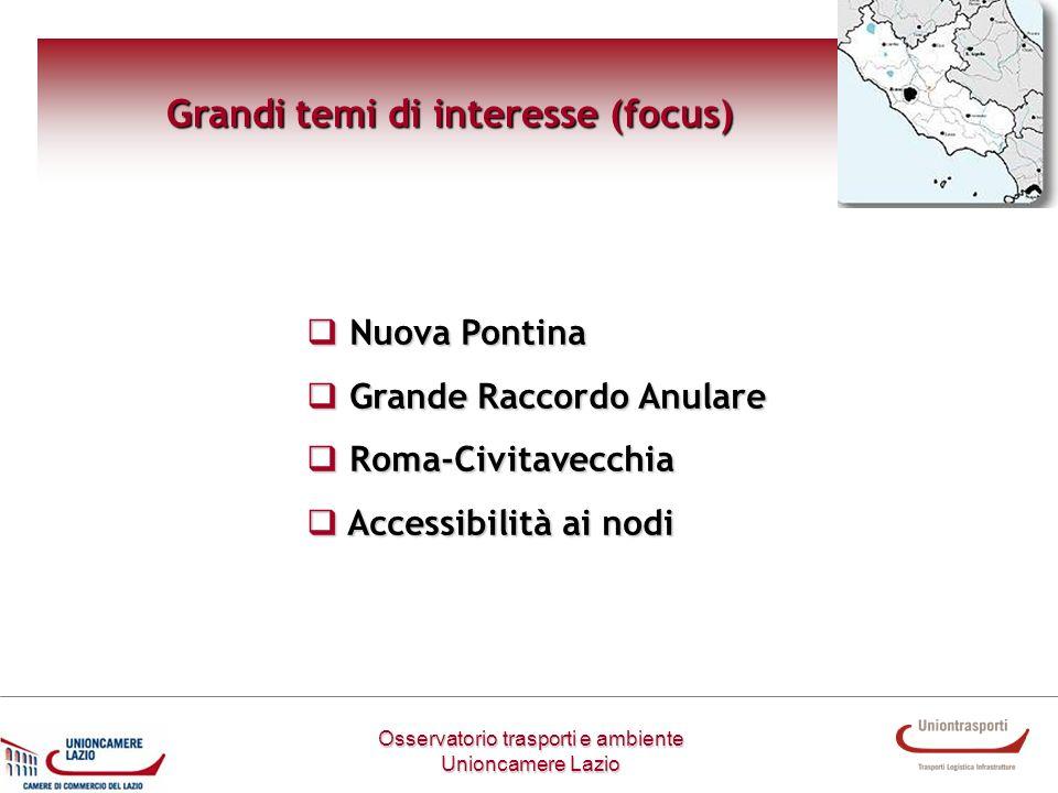 Grandi temi di interesse (focus) Osservatorio trasporti e ambiente Unioncamere Lazio Nuova Pontina Nuova Pontina Grande Raccordo Anulare Grande Raccor