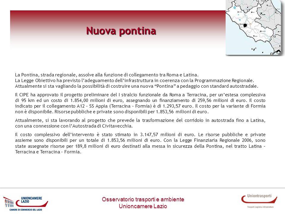 Nuova pontina Osservatorio trasporti e ambiente Unioncamere Lazio La Pontina, strada regionale, assolve alla funzione di collegamento tra Roma e Latin