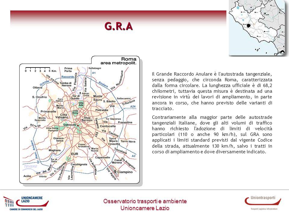 Osservatorio trasporti e ambiente Unioncamere Lazio G.R.A Il Grande Raccordo Anulare è l'autostrada tangenziale, senza pedaggio, che circonda Roma, ca