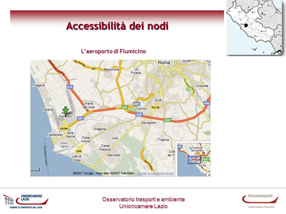 Osservatorio trasporti e ambiente Unioncamere Lazio Accessibilità dei nodi Laeroporto di Fiumicino