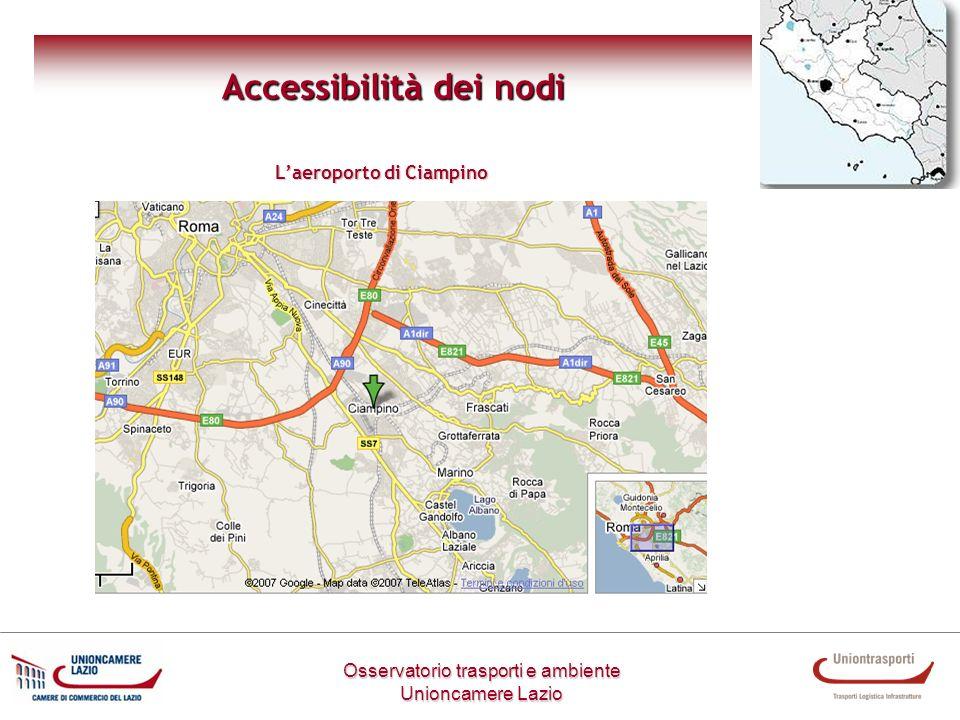 Osservatorio trasporti e ambiente Unioncamere Lazio Accessibilità dei nodi Laeroporto di Ciampino
