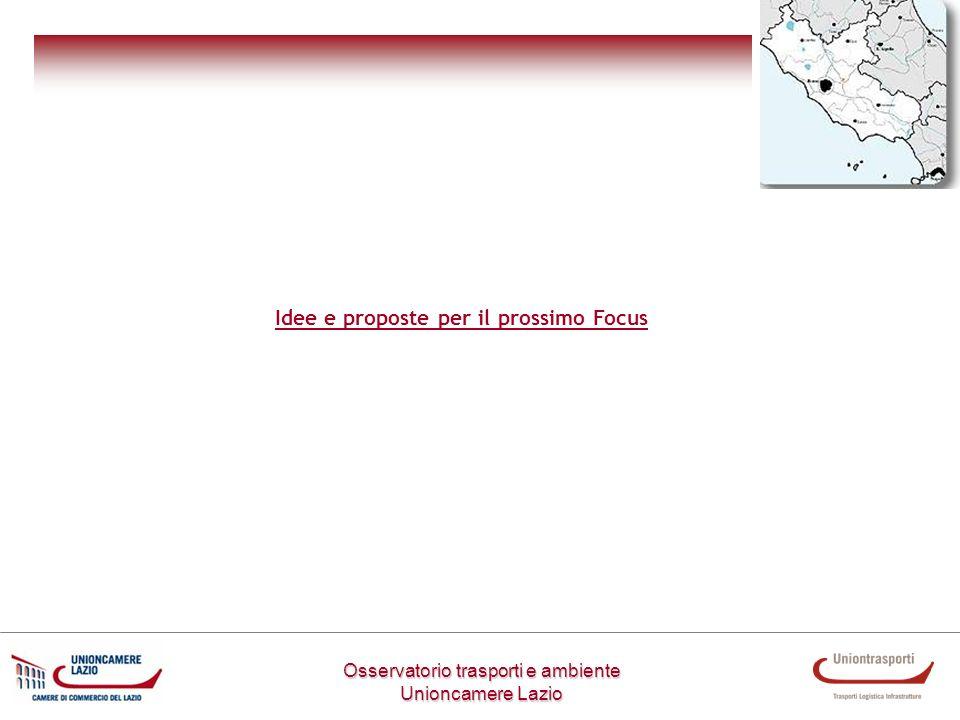 Osservatorio trasporti e ambiente Unioncamere Lazio Idee e proposte per il prossimo Focus