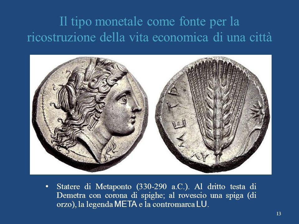13 Il tipo monetale come fonte per la ricostruzione della vita economica di una città Statere di Metaponto (330-290 a.C.).