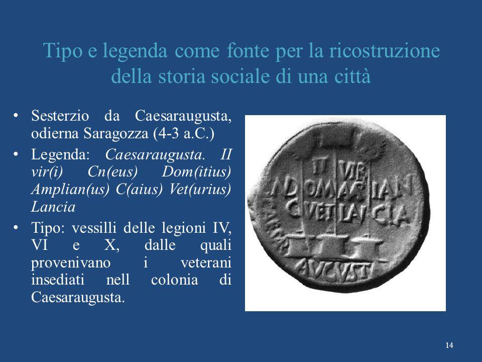 14 Tipo e legenda come fonte per la ricostruzione della storia sociale di una città Sesterzio da Caesaraugusta, odierna Saragozza (4-3 a.C.) Legenda: Caesaraugusta.