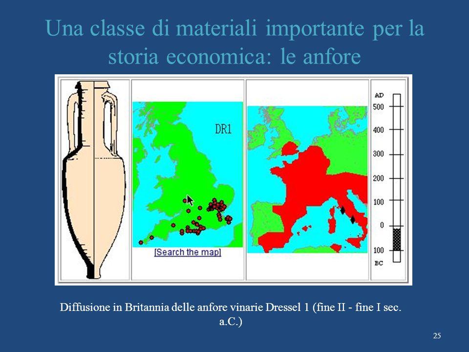 25 Una classe di materiali importante per la storia economica: le anfore Diffusione in Britannia delle anfore vinarie Dressel 1 (fine II - fine I sec.