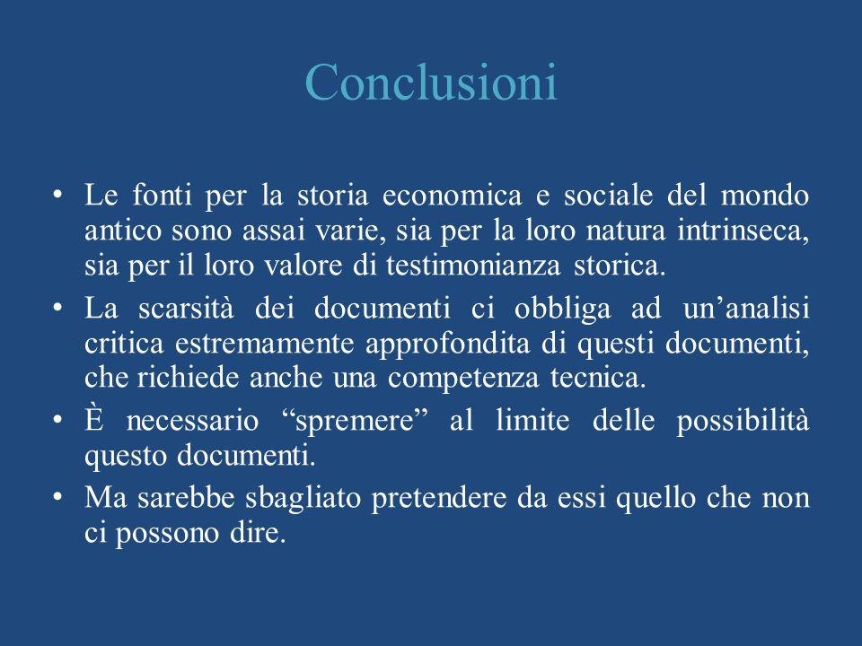 Conclusioni Le fonti per la storia economica e sociale del mondo antico sono assai varie, sia per la loro natura intrinseca, sia per il loro valore di testimonianza storica.