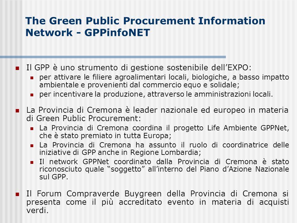 The Green Public Procurement Information Network - GPPinfoNET Il GPP è uno strumento di gestione sostenibile dellEXPO: per attivare le filiere agroalimentari locali, biologiche, a basso impatto ambientale e provenienti dal commercio equo e solidale; per incentivare la produzione, attraverso le amministrazioni locali.