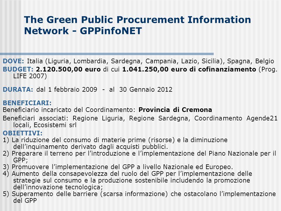 The Green Public Procurement Information Network - GPPinfoNET DOVE: Italia (Liguria, Lombardia, Sardegna, Campania, Lazio, Sicilia), Spagna, Belgio BUDGET: 2.120.500,00 euro di cui 1.041.250,00 euro di cofinanziamento (Prog.