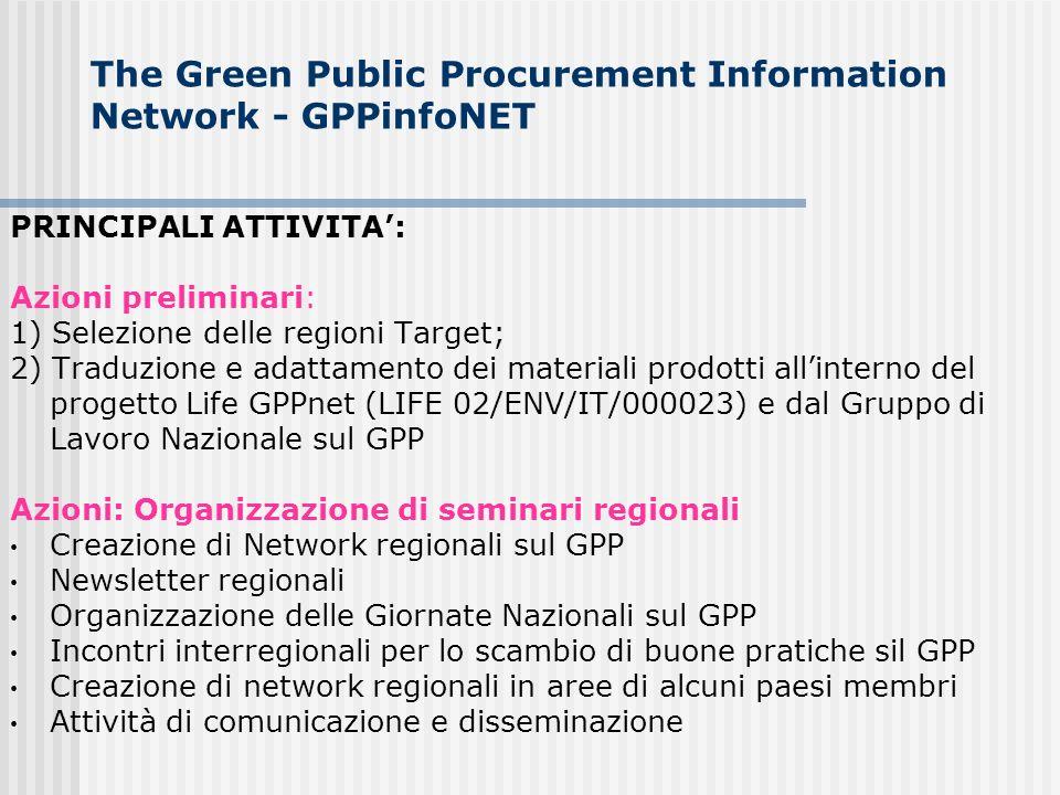 The Green Public Procurement Information Network - GPPinfoNET PRINCIPALI ATTIVITA: Azioni preliminari: 1) Selezione delle regioni Target; 2) Traduzion