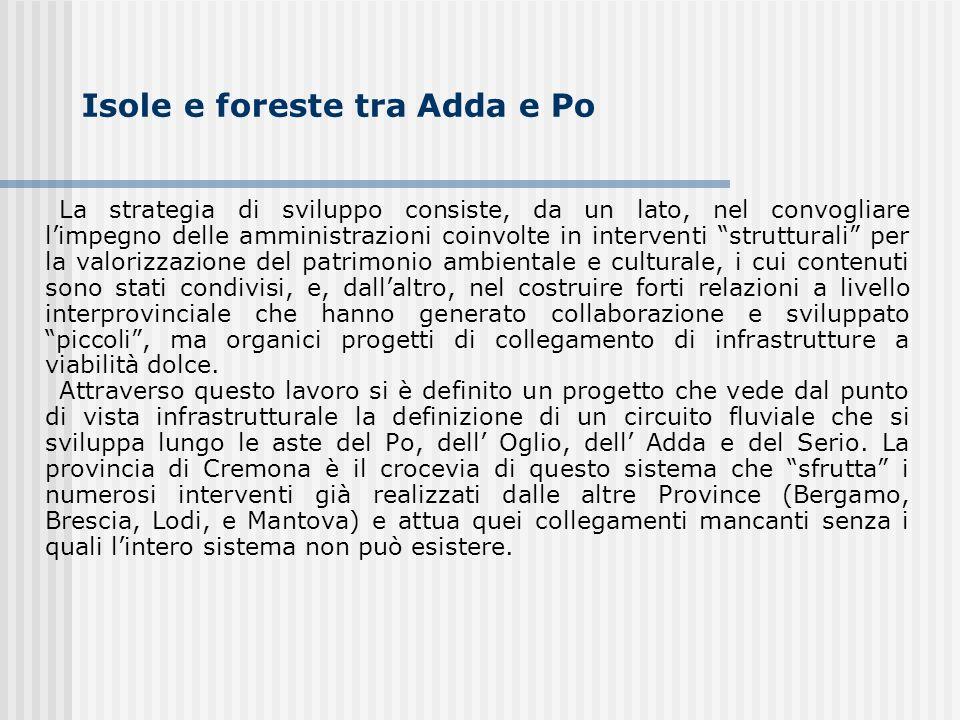 Isole e foreste tra Adda e Po La strategia di sviluppo consiste, da un lato, nel convogliare limpegno delle amministrazioni coinvolte in interventi st