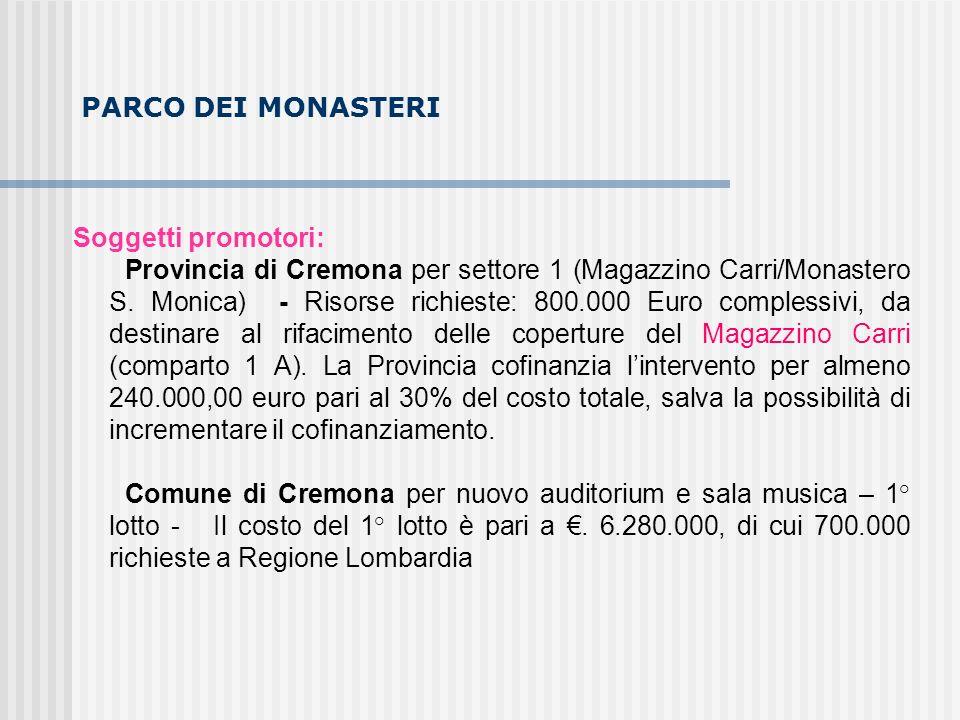 PARCO DEI MONASTERI Soggetti promotori: Provincia di Cremona per settore 1 (Magazzino Carri/Monastero S. Monica) - Risorse richieste: 800.000 Euro com