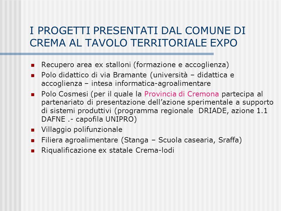 I PROGETTI PRESENTATI DAL COMUNE DI CREMA AL TAVOLO TERRITORIALE EXPO Recupero area ex stalloni (formazione e accoglienza) Polo didattico di via Bramante (università – didattica e accoglienza – intesa informatica-agroalimentare Polo Cosmesi (per il quale la Provincia di Cremona partecipa al partenariato di presentazione dellazione sperimentale a supporto di sistemi produttivi (programma regionale DRIADE, azione 1.1 DAFNE.- capofila UNIPRO) Villaggio polifunzionale Filiera agroalimentare (Stanga – Scuola casearia, Sraffa) Riqualificazione ex statale Crema-lodi