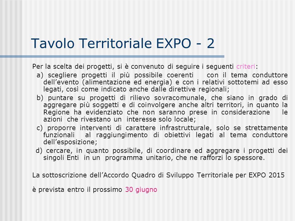 Tavolo Territoriale EXPO - 2 Per la scelta dei progetti, si è convenuto di seguire i seguenti criteri: a) scegliere progetti il più possibile coerenti