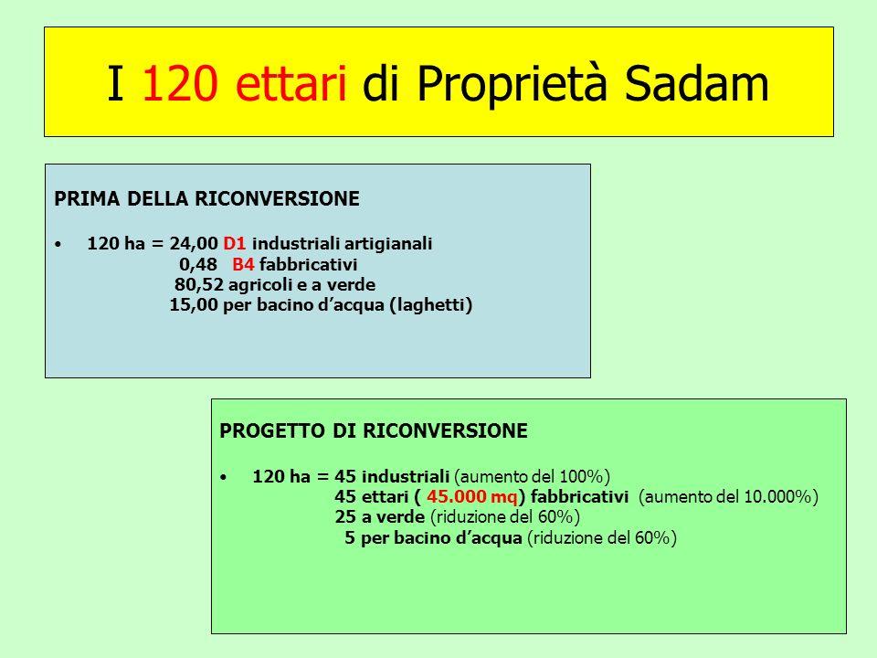 I 120 ettari di Proprietà Sadam PRIMA DELLA RICONVERSIONE 120 ha = 24,00 D1 industriali artigianali 0,48 B4 fabbricativi 80,52 agricoli e a verde 15,00 per bacino dacqua (laghetti) PROGETTO DI RICONVERSIONE 120 ha = 45 industriali (aumento del 100%) 45 ettari ( 45.000 mq) fabbricativi (aumento del 10.000%) 25 a verde (riduzione del 60%) 5 per bacino dacqua (riduzione del 60%)