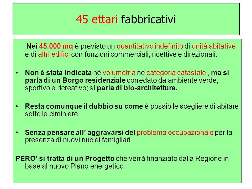 45 ettari fabbricativi Nei 45.000 mq è previsto un quantitativo indefinito di unità abitative e di altri edifici con funzioni commerciali, ricettive e direzionali.