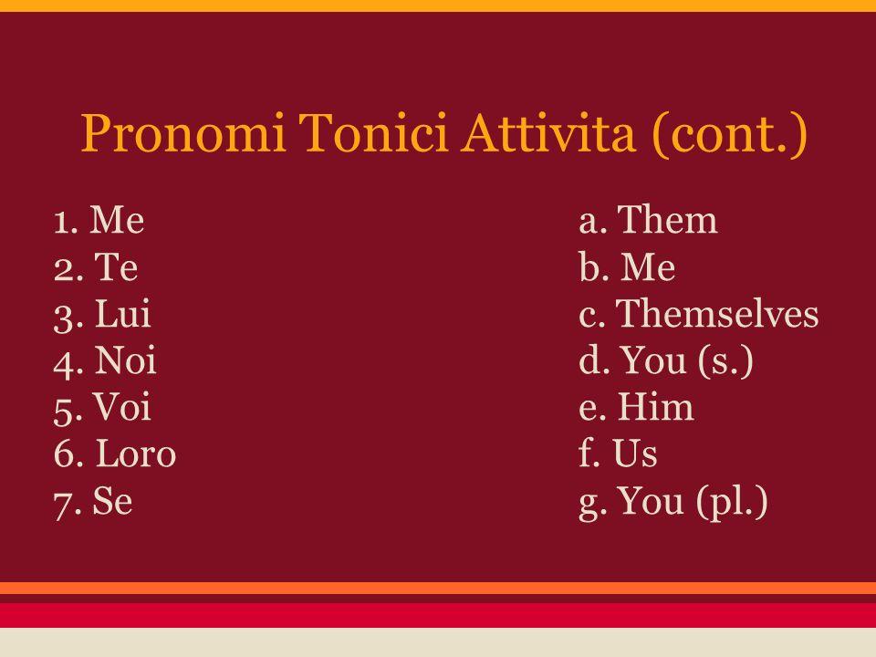 Pronomi Tonici Attivita (cont.) 1.Mea. Them 2. Teb.