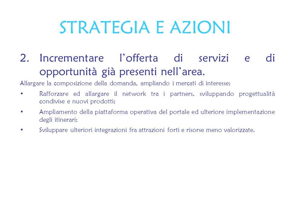 2.Incrementare lofferta di servizi e di opportunità già presenti nellarea. Allargare la composizione della domanda, ampliando i mercati di interesse;