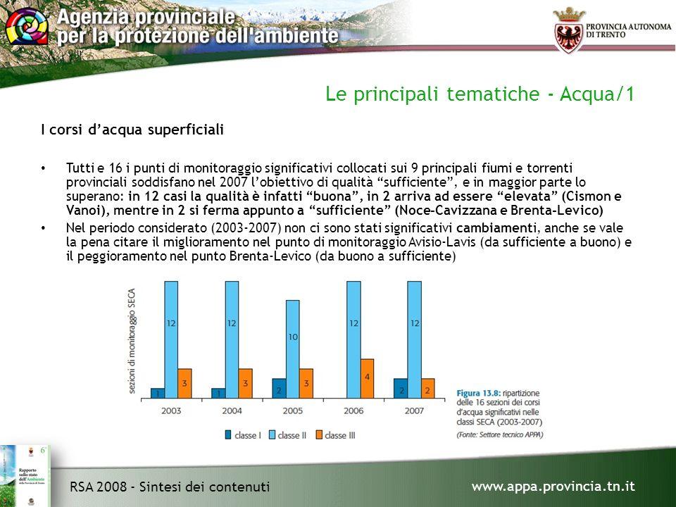 www.appa.provincia.tn.it RSA 2008 - Sintesi dei contenuti Le principali tematiche - Acqua/1 I corsi dacqua superficiali Tutti e 16 i punti di monitoraggio significativi collocati sui 9 principali fiumi e torrenti provinciali soddisfano nel 2007 lobiettivo di qualità sufficiente, e in maggior parte lo superano: in 12 casi la qualità è infatti buona, in 2 arriva ad essere elevata (Cismon e Vanoi), mentre in 2 si ferma appunto a sufficiente (Noce-Cavizzana e Brenta-Levico) Nel periodo considerato (2003-2007) non ci sono stati significativi cambiamenti, anche se vale la pena citare il miglioramento nel punto di monitoraggio Avisio-Lavis (da sufficiente a buono) e il peggioramento nel punto Brenta-Levico (da buono a sufficiente)