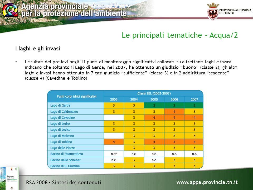 www.appa.provincia.tn.it RSA 2008 - Sintesi dei contenuti Le principali tematiche - Acqua/2 I laghi e gli invasi I risultati dei prelievi negli 11 punti di monitoraggio significativi collocati su altrettanti laghi e invasi indicano che soltanto il Lago di Garda, nel 2007, ha ottenuto un giudizio buono (classe 2); gli altri laghi e invasi hanno ottenuto in 7 casi giudizio sufficiente (classe 3) e in 2 addirittura scadente (classe 4) (Cavedine e Toblino)