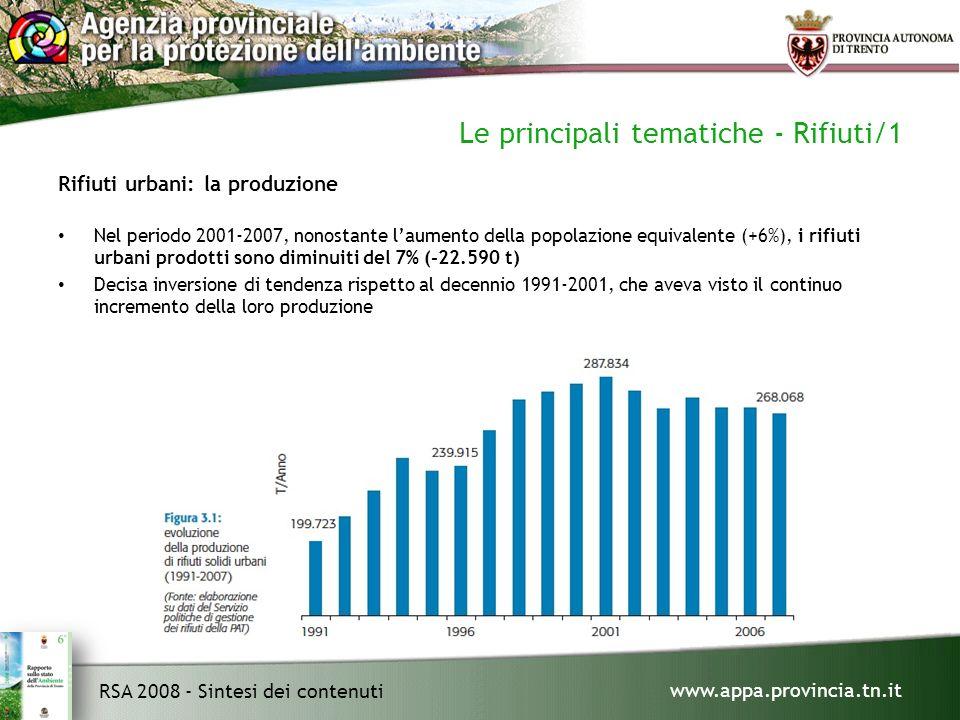 www.appa.provincia.tn.it RSA 2008 - Sintesi dei contenuti Le principali tematiche - Rifiuti/1 Rifiuti urbani: la produzione Nel periodo 2001-2007, nonostante laumento della popolazione equivalente (+6%), i rifiuti urbani prodotti sono diminuiti del 7% (-22.590 t) Decisa inversione di tendenza rispetto al decennio 1991-2001, che aveva visto il continuo incremento della loro produzione