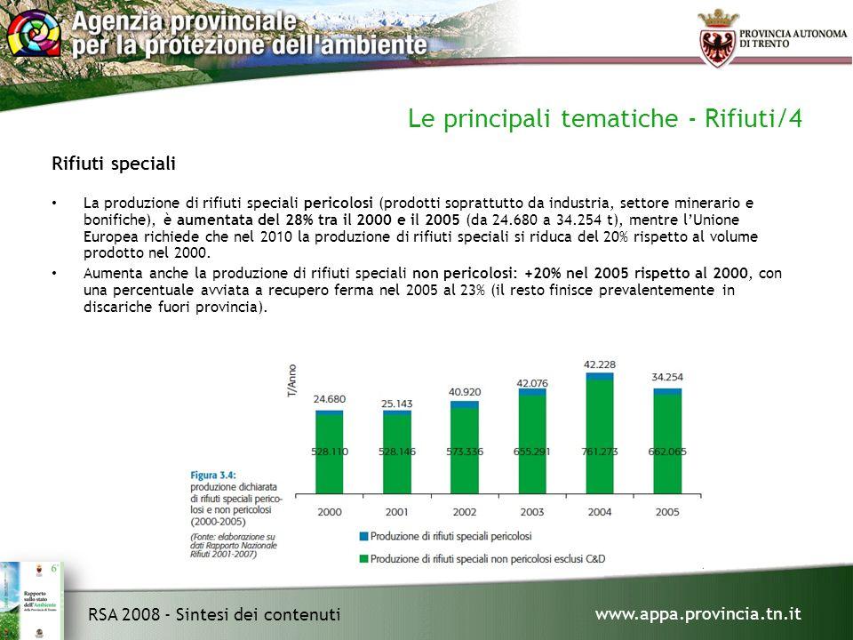 www.appa.provincia.tn.it RSA 2008 - Sintesi dei contenuti Le principali tematiche - Rifiuti/4 Rifiuti speciali La produzione di rifiuti speciali pericolosi (prodotti soprattutto da industria, settore minerario e bonifiche), è aumentata del 28% tra il 2000 e il 2005 (da 24.680 a 34.254 t), mentre lUnione Europea richiede che nel 2010 la produzione di rifiuti speciali si riduca del 20% rispetto al volume prodotto nel 2000.