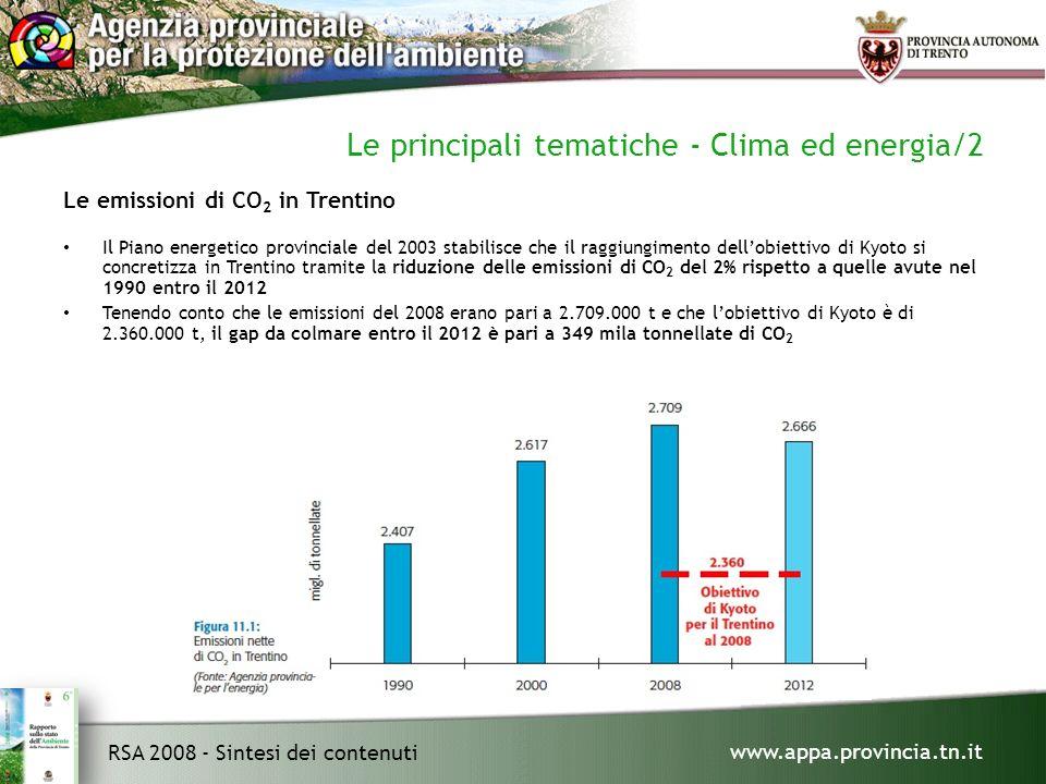 www.appa.provincia.tn.it RSA 2008 - Sintesi dei contenuti Le principali tematiche - Clima ed energia/2 Le emissioni di CO 2 in Trentino Il Piano energetico provinciale del 2003 stabilisce che il raggiungimento dellobiettivo di Kyoto si concretizza in Trentino tramite la riduzione delle emissioni di CO 2 del 2% rispetto a quelle avute nel 1990 entro il 2012 Tenendo conto che le emissioni del 2008 erano pari a 2.709.000 t e che lobiettivo di Kyoto è di 2.360.000 t, il gap da colmare entro il 2012 è pari a 349 mila tonnellate di CO 2