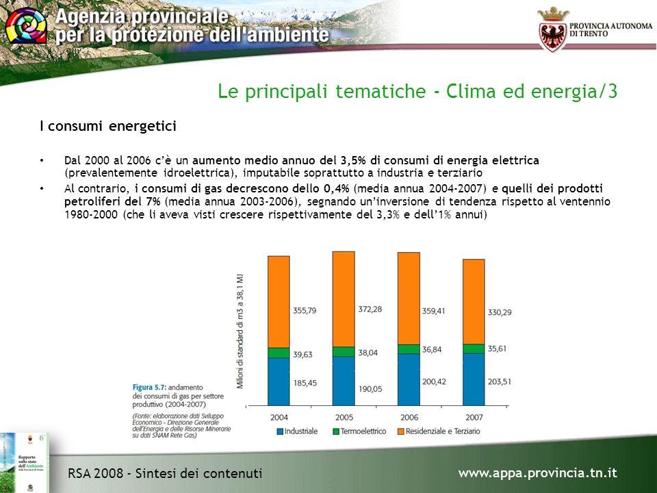 www.appa.provincia.tn.it RSA 2008 - Sintesi dei contenuti Le principali tematiche - Clima ed energia/3 I consumi energetici Dal 2000 al 2006 cè un aumento medio annuo del 3,5% di consumi di energia elettrica (prevalentemente idroelettrica), imputabile soprattutto a industria e terziario Al contrario, i consumi di gas decrescono dello 0,4% (media annua 2004-2007) e quelli dei prodotti petroliferi del 7% (media annua 2003-2006), segnando uninversione di tendenza rispetto al ventennio 1980-2000 (che li aveva visti crescere rispettivamente del 3,3% e dell1% annui)