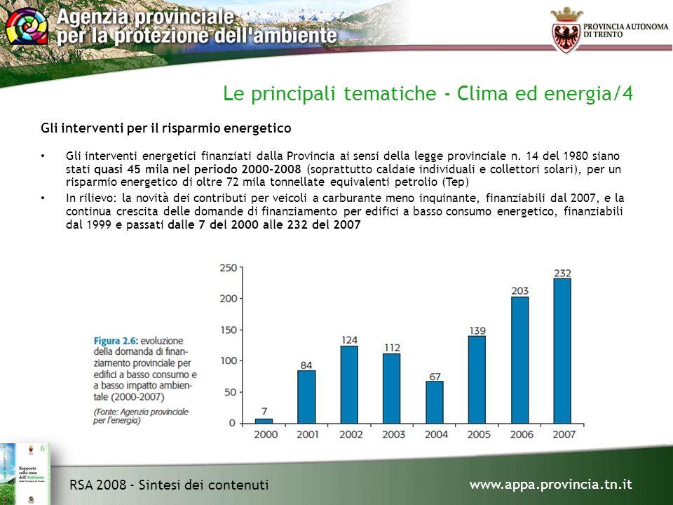 www.appa.provincia.tn.it RSA 2008 - Sintesi dei contenuti Le principali tematiche - Clima ed energia/4 Gli interventi per il risparmio energetico Gli interventi energetici finanziati dalla Provincia ai sensi della legge provinciale n.