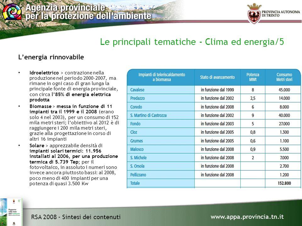 www.appa.provincia.tn.it RSA 2008 - Sintesi dei contenuti Le principali tematiche - Clima ed energia/5 Lenergia rinnovabile Idroelettrico > contrazione nella produzione nel periodo 2000-2007, ma rimane in ogni caso di gran lunga la principale fonte di energia provinciale, con circa l85% di energia elettrica prodotta Biomasse > messa in funzione di 11 impianti tra il 1999 e il 2008 (erano solo 4 nel 2003), per un consumo di 152 mila metri steri; lobiettivo al 2012 è di raggiungere i 200 mila metri steri, grazie alla progettazione in corso di altri 16 impianti Solare > apprezzabile densità di impianti solari termici: 11.956 installati al 2006, per una produzione termica di 5.739 Tep; per il fotovoltaico, in assoluto i numeri sono invece ancora piuttosto bassi: al 2008, poco meno di 400 impianti per una potenza di quasi 3.500 Kw